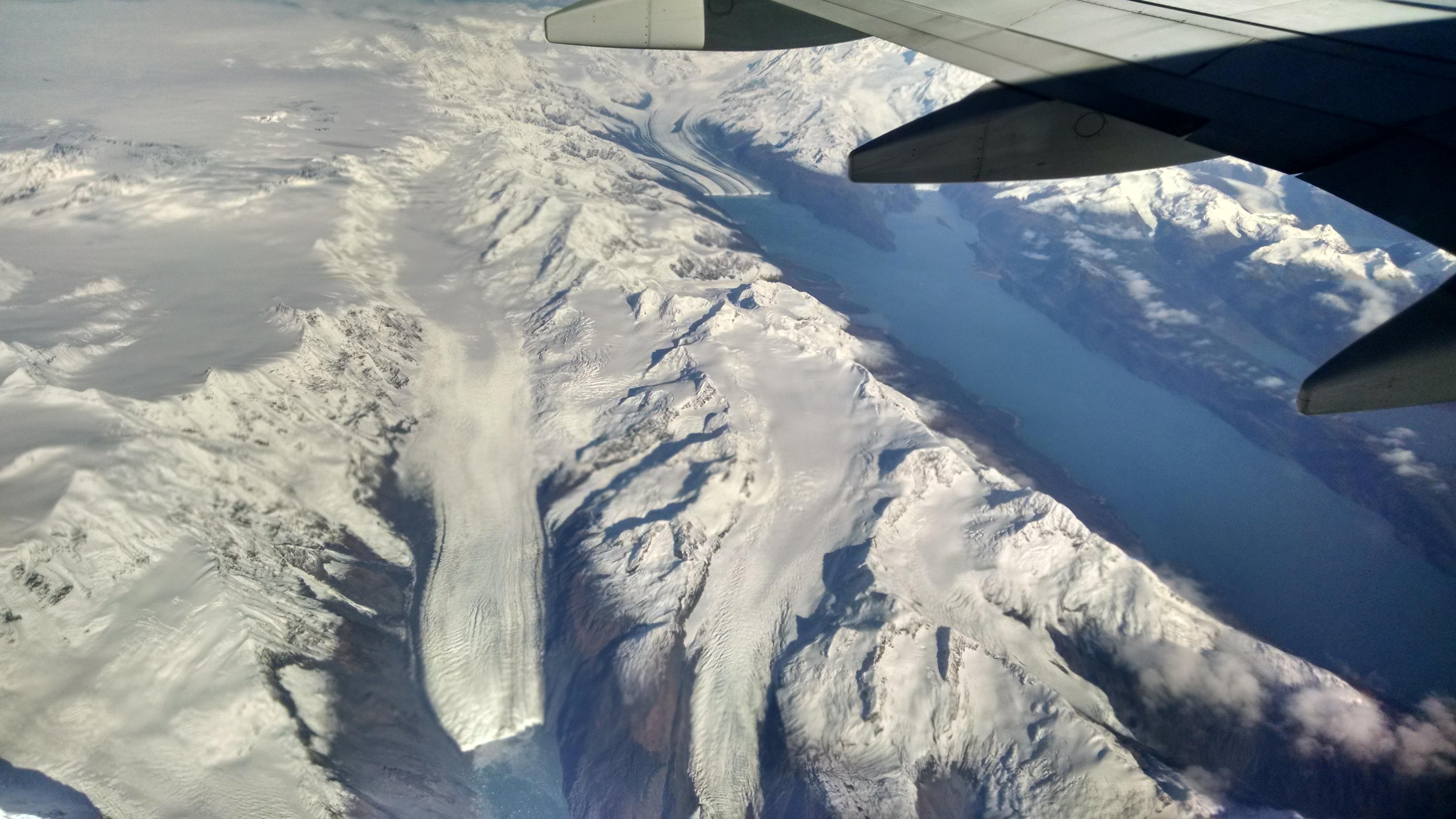 Alaska glacier view from plane window